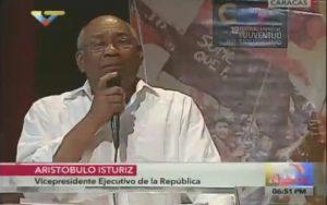 Venezuelas Vizepräsident Aristóbulo Istúriz. Screenshot: VTV